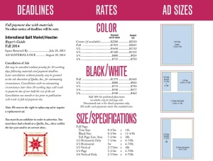 This is the rate card we gave to clients who were placing ads in the 2014 Quilts Buyers' Guide, a publication we design for Quilts, Inc.