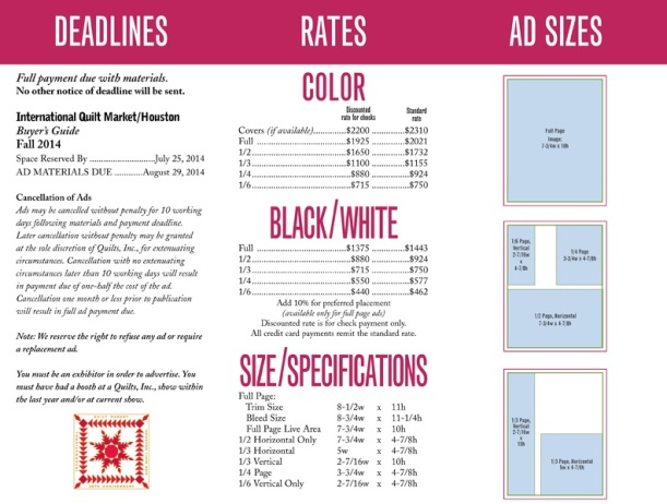 This is the rate card we gave to clients who were placing ads in the 2014 Quilts Buyers' Guide. As you can see, the card shows ad sizes, costs, for both black and white and color ads, and deadlines.