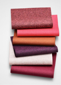 Berrylicious, paired with some complementary shades of lighter pink, in wool. Image courtesy of CMG.
