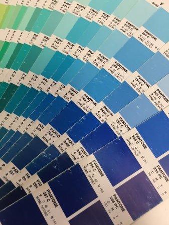 """The Pantone color book. You can see that the colors on the left of the page are """"RGB"""" and the colors on the right are """"CMYK.""""  The book depicts roughly the difference you can expect between computer images and printed images."""