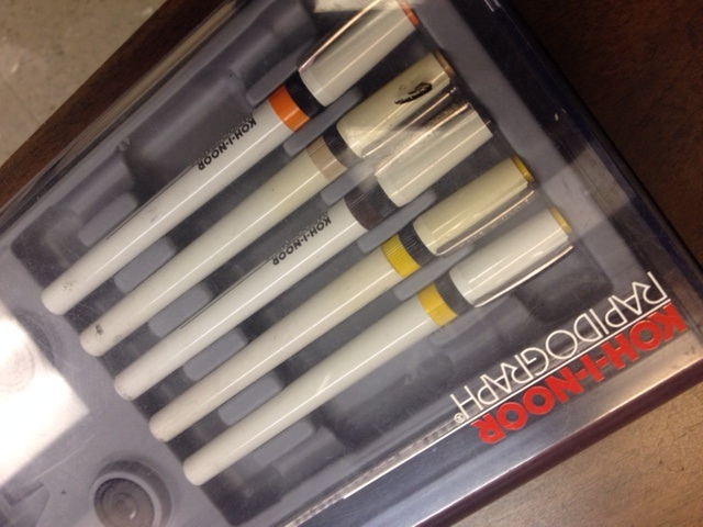 These special pens known as Rapidiographs, were for creating specific line-widths by hand.