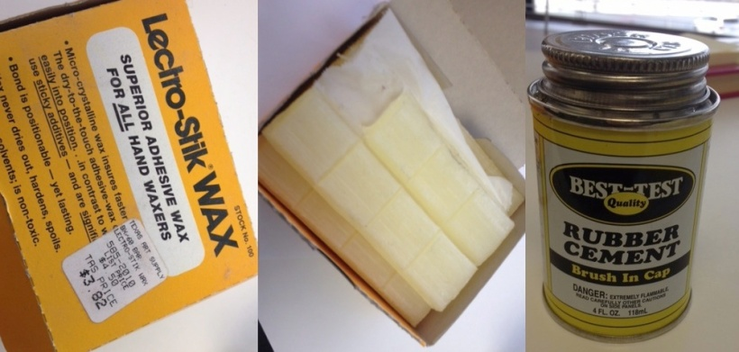"Lectro-Stik WAX (left, center) was applied to the back of type photo paper to attach it to art boards. Rubber cement (right)was used to adhere regular paper or ""placement"" photos (that is, photos used to determine the placement of an image within the ad.)"